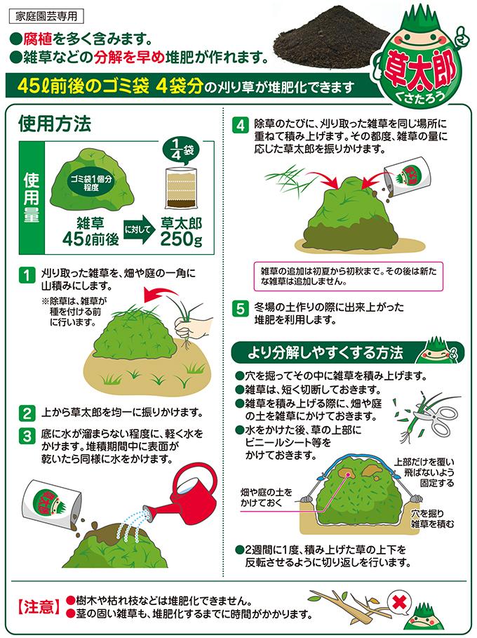まくだけで刈り草スッキリ。有機堆肥に!草太郎