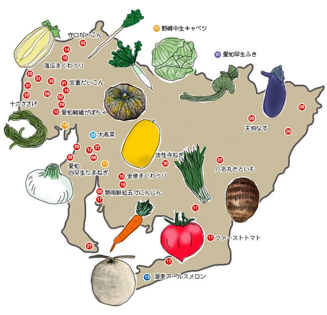 花ごころ 旬の園芸レッスン70 へぇ〜、そうだったの!? 「あいちの伝統野菜」地図