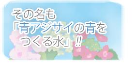 その名も『青アジサイの青をつくる水』!!